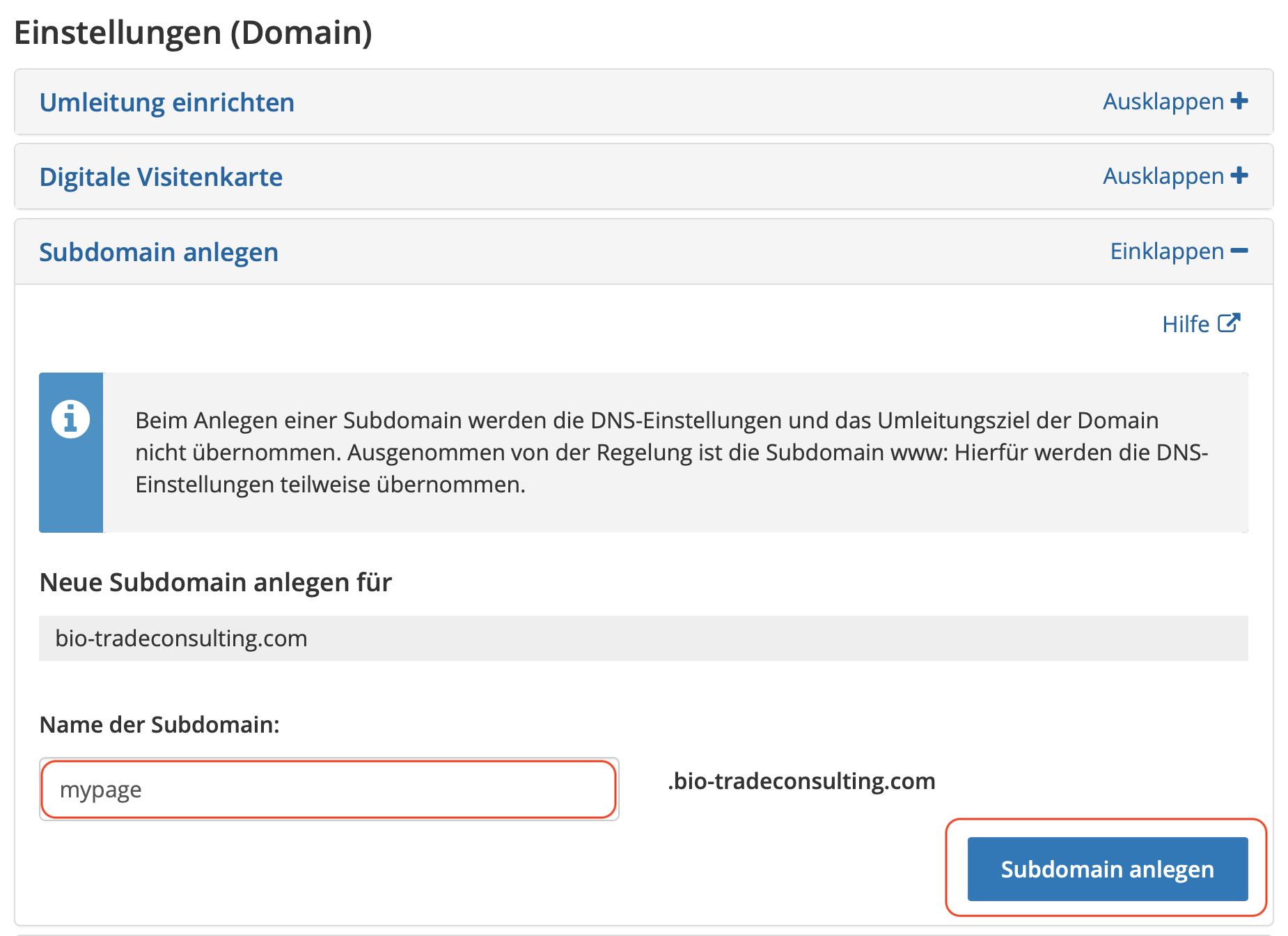 Domain Sub anlegen
