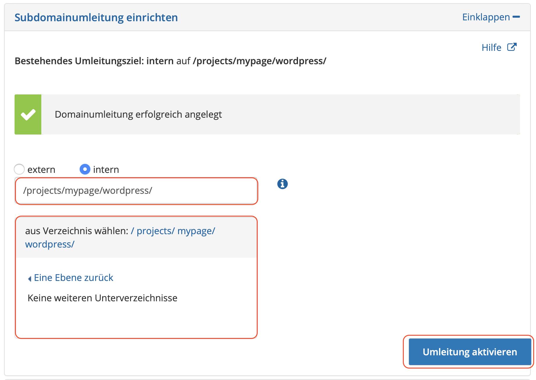 Domain Umleitung