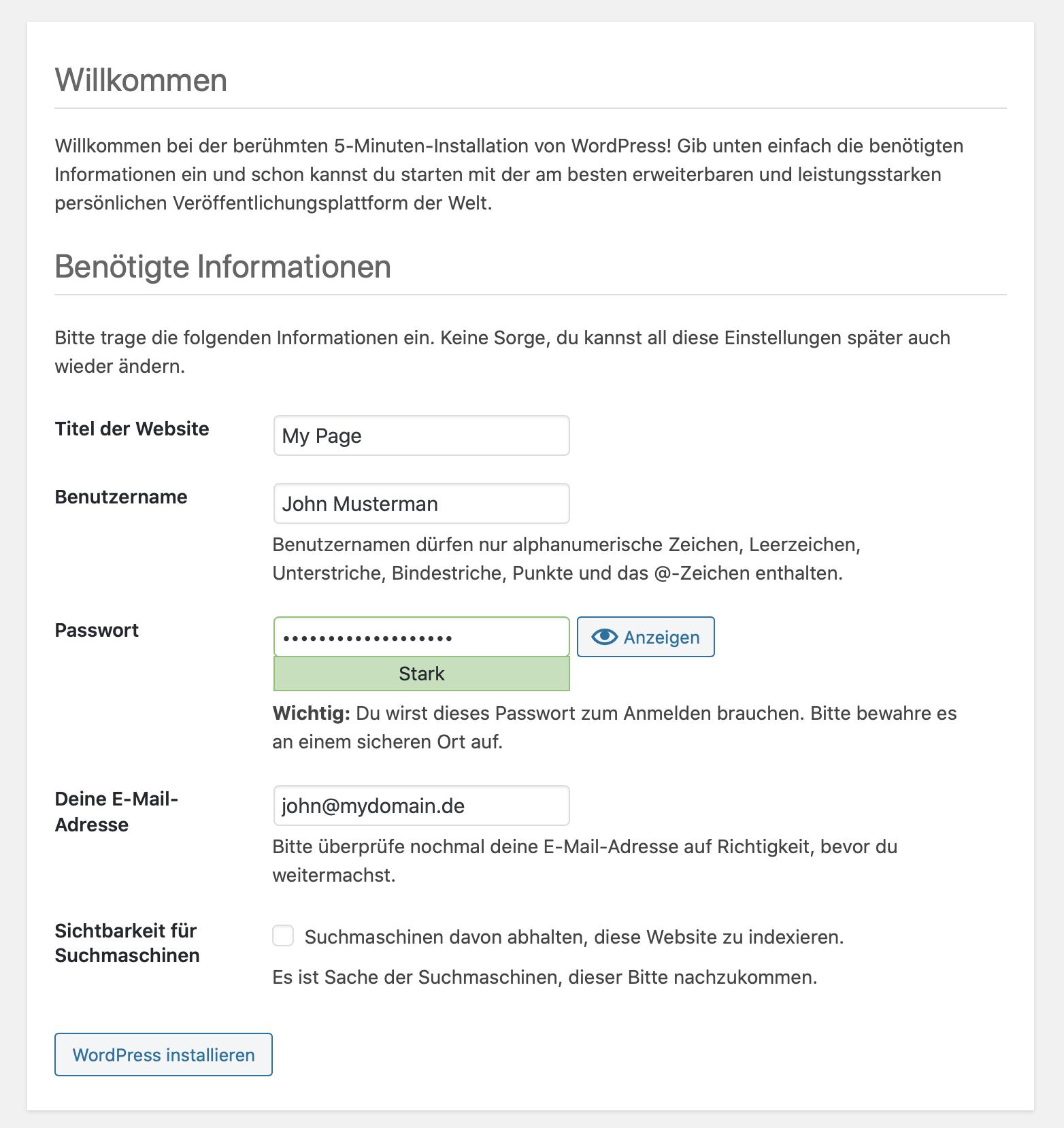 WordPress Setup Admin