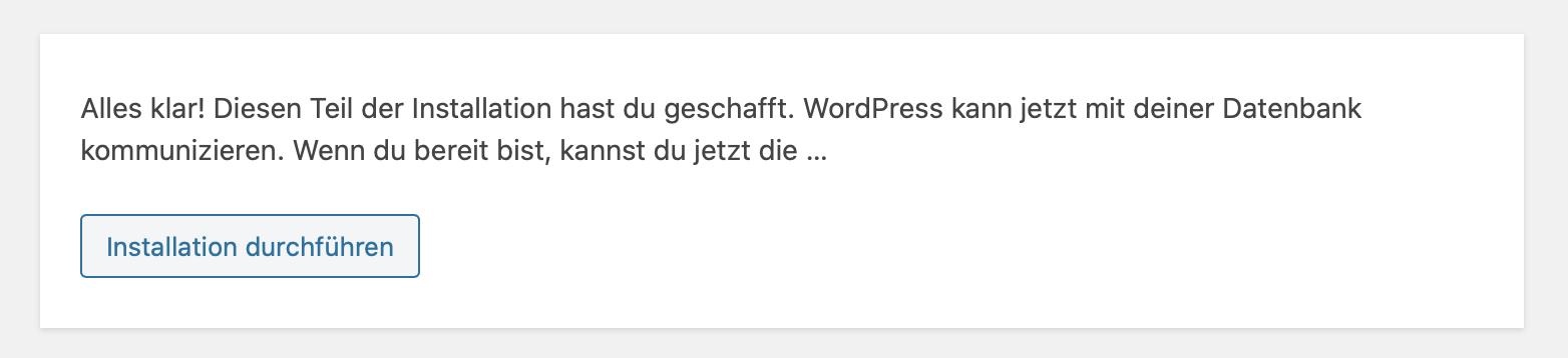 WordPress Setup Asuführen